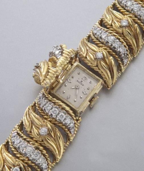 Rolex 14K gold and diamond bracelet watch - 3