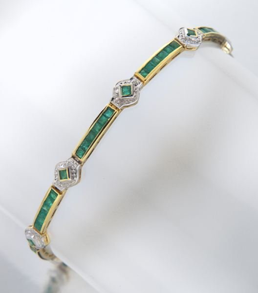 14K gold, emerald and diamond bracelet