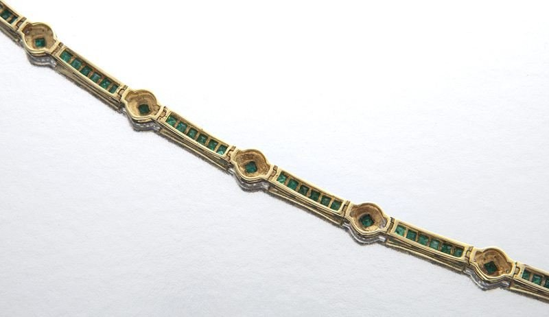 14K gold, emerald and diamond bracelet - 4