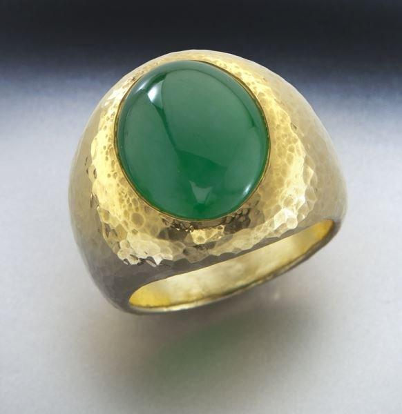 24K gold and jade ring