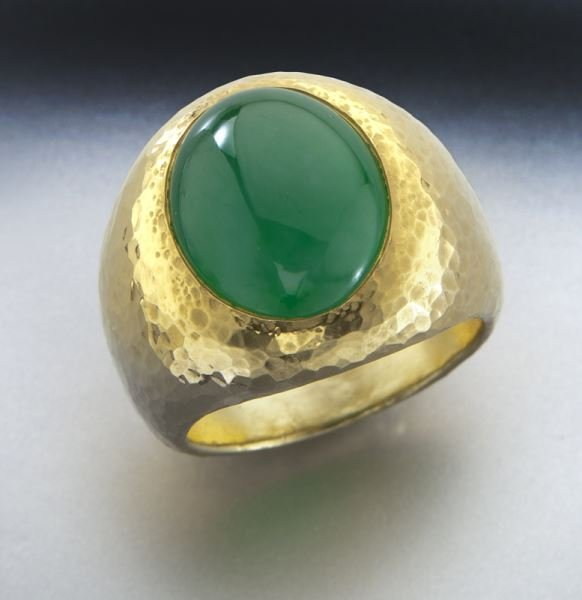 24K gold and jade ring