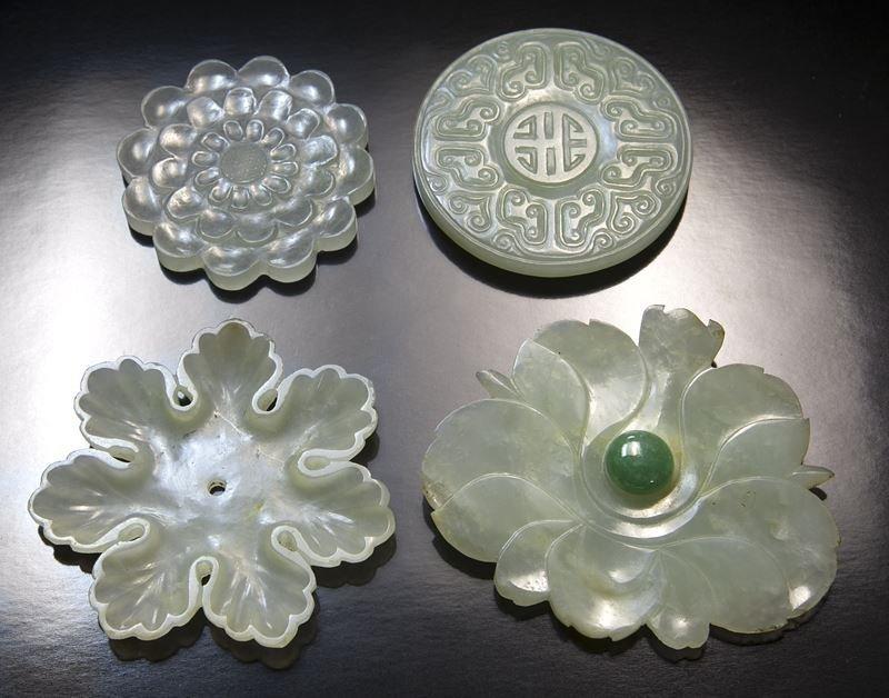 (4) Chinese Qing carved jade/jadeite costume