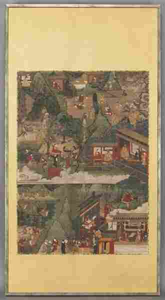 Chinese Qing watercolor on silk framed scroll