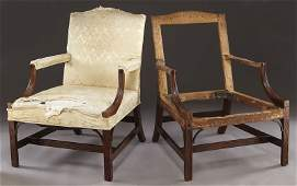 Pr. American Chippendale style lolling chairs