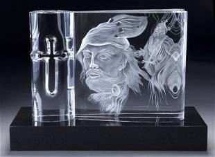 "3 Pc. Steuben ""Macbeth"" crystal sculpture on base"