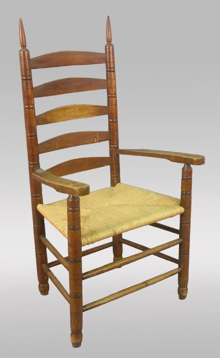 3: Shaker ladder back arm chair with rush