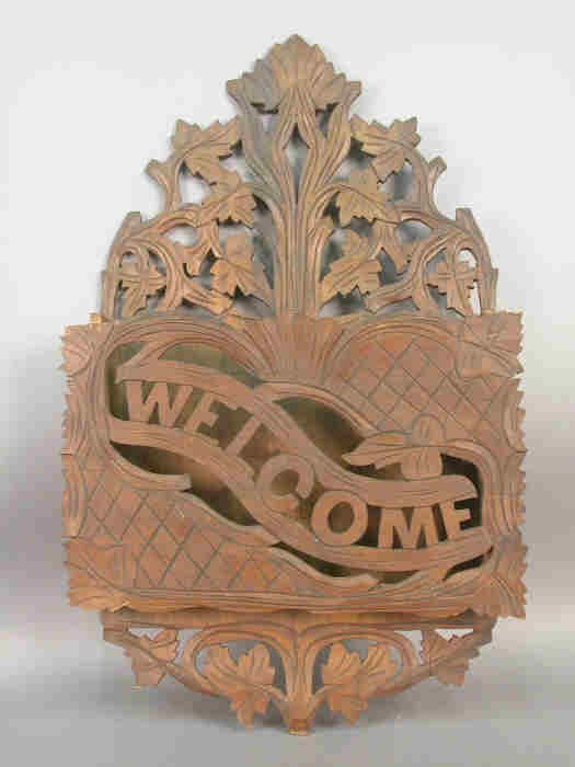 3B: Victorian carved paper rack, with carved leaves and