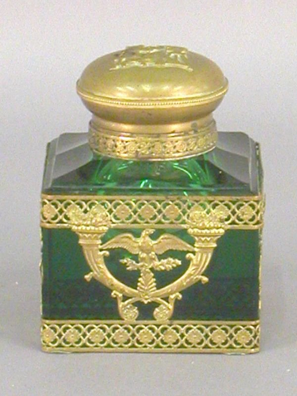 17: Empire style green glass inkwell with