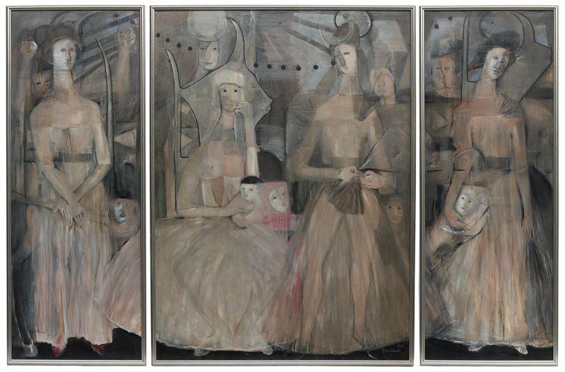 "Agustin Fernandez ""La Familia"" triptych, oil"