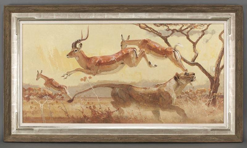 "Bob Kuhn, ""The Cow Jumped Over the Moon"" acrylic"