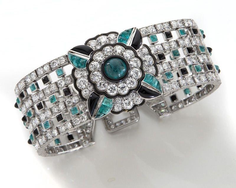 Art Deco Mauboussin platinum, diamond, emerald and