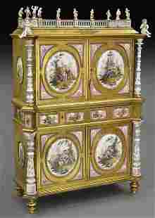 German Renaissance Revival KPM mounted cabinet,