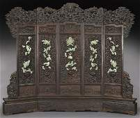 Chinese carved wood and stone mounted five panel