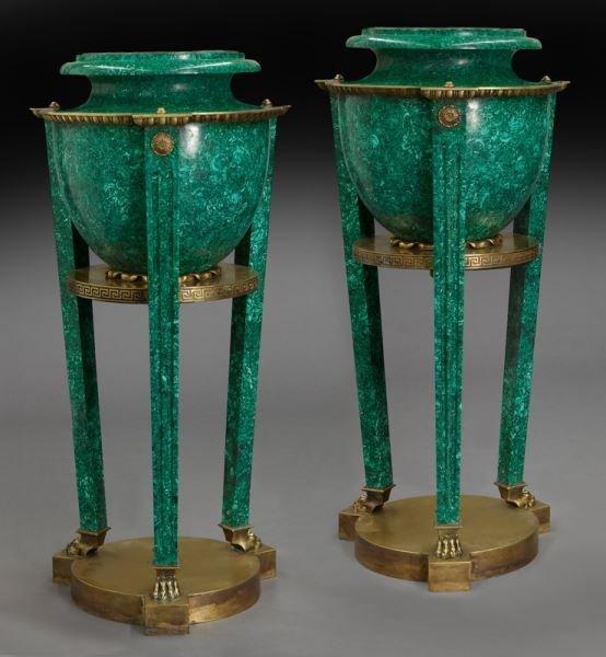 Pr. Neoclassical bronze and malachite torcheres