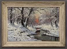 "Laszlo Neogrady, ""Snow Covered Stream"" oil on"