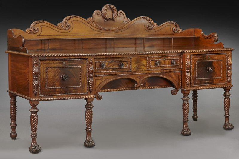 Irish Regency mahogany carved sideboard