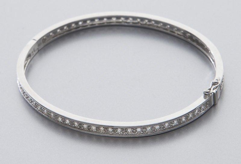 18K gold and diamond eternity bangle bracelet. - 2