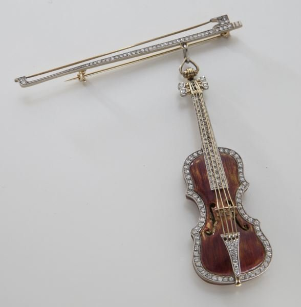 Platinum, 18K and diamond enameled violin brooch,