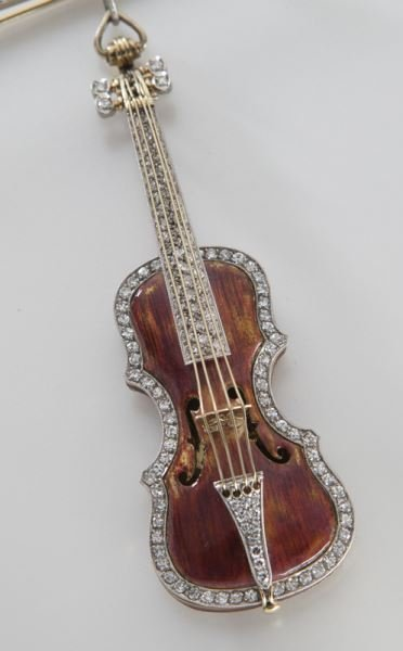 Platinum, 18K and diamond enameled violin brooch, - 2