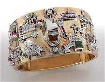 Platinum, 14K gold, diamond and gem-set charm cuff