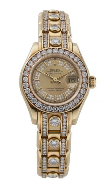 Rolex 18K gold and diamond lady's Pearlmaster