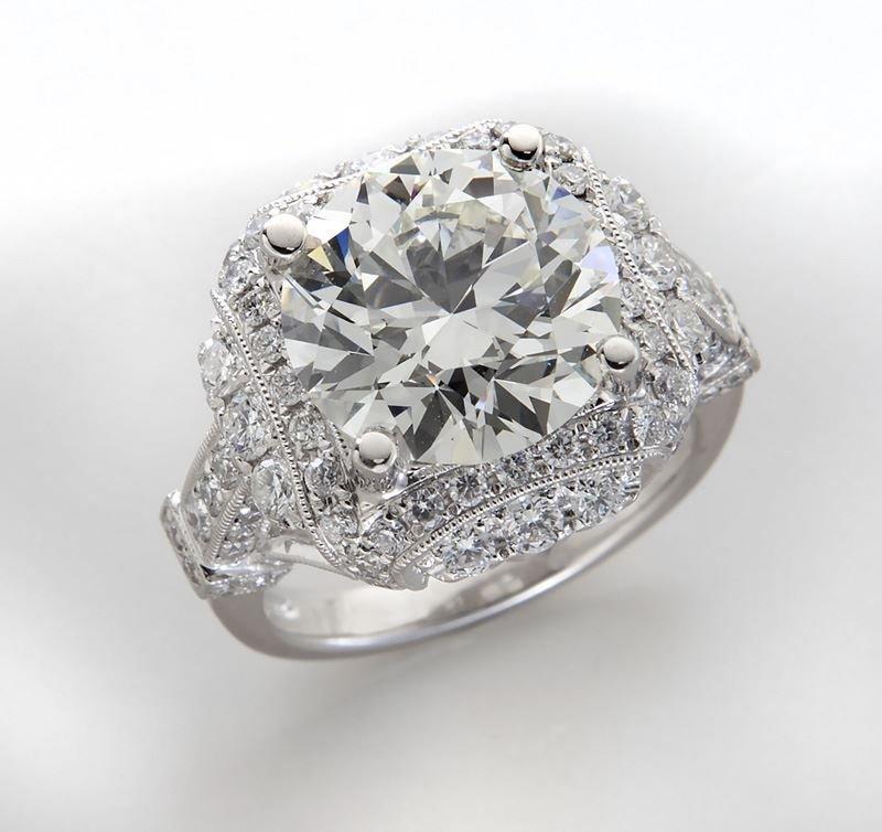 6.0 ct. round brilliant cut diamond (GIA) ring,