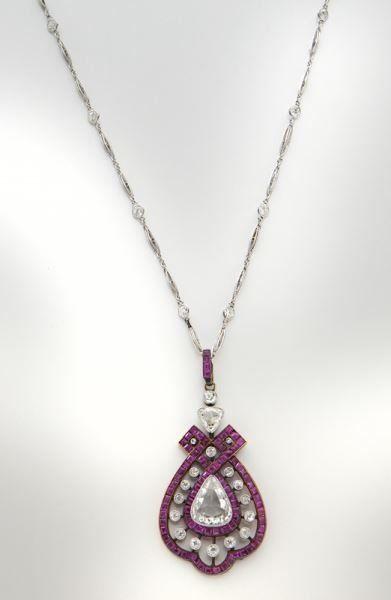 Edwardian 18K rose gold, platinum, ruby & diamond
