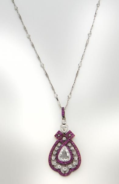 Edwardian 18K rose gold, platinum, ruby & diamond