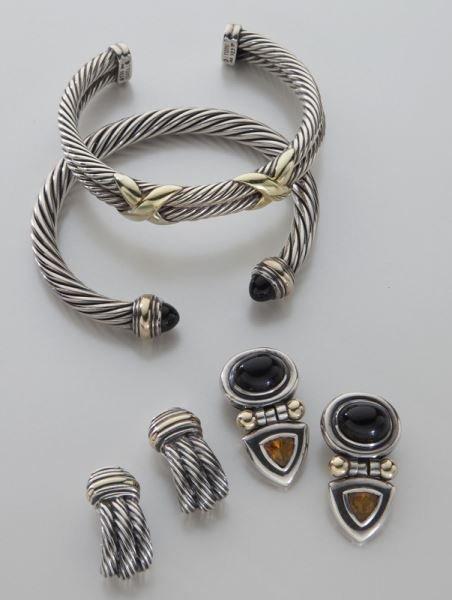 4 Pcs. David Yurman sterling & 14K gold jewelry,