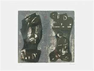 Signed Henry Moore (LR) original color lithograph,