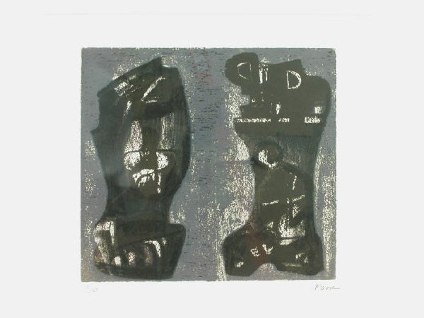 1: Signed Henry Moore (LR) original color lithograph,