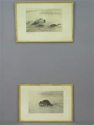 Pair of signed Levin Dauchin (LR) photogravures