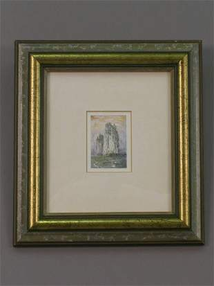 Signed Robert Bates (LR) watercolor on paper