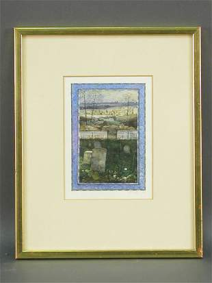 Robert Bates watercolor on paper titled