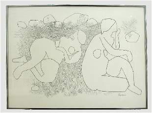 Signed Gregorio Prestopino (LR) drawing on paper