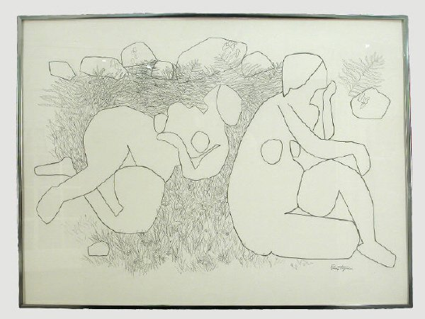 15: Signed Gregorio Prestopino (LR) drawing on paper