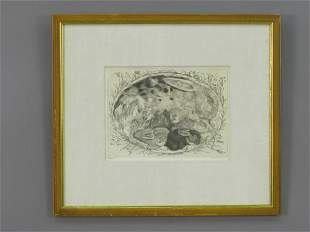 Signed Ford Ruthling (LR) print of a rabbit