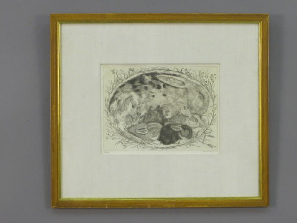 21: Signed Ford Ruthling (LR) print of a rabbit