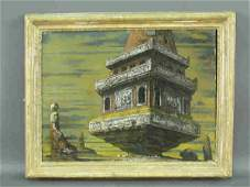 145 Eugene Berman oil on canvas titled Monumental