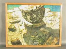 146 Signed Eugene Berman LC oil on canvas titled