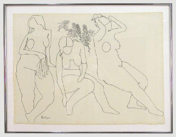 158: Signed Gregorio Prestopino (LR) drawing on paper