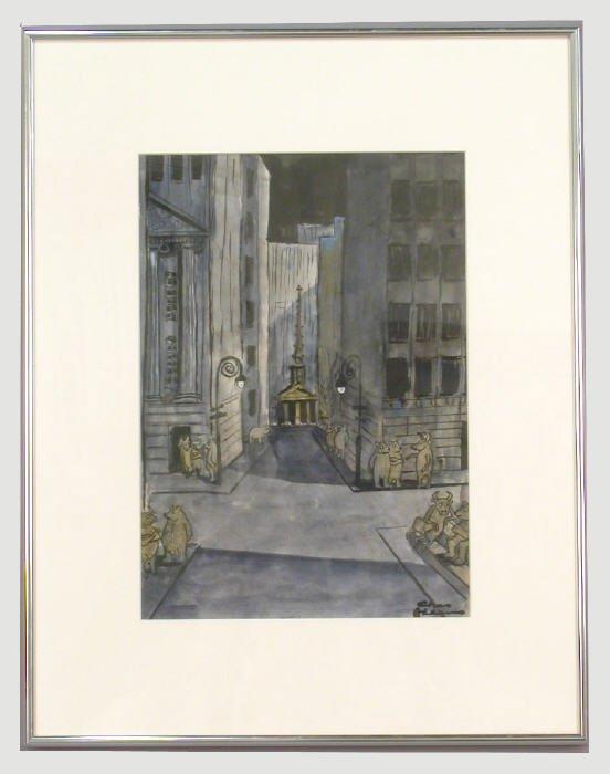165: Signed Charles (Samuel) Addams (LR) watercolor