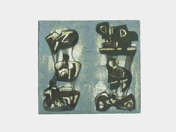 167: Signed Henry Moore (LR) original color lithograph,