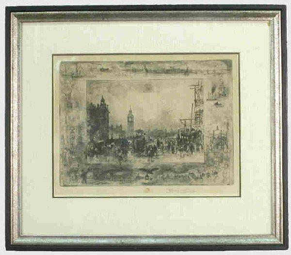 169: Signed Felix Buhot (LR) etching and aquatint