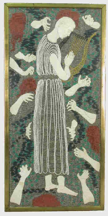 171: Liselotte Moser tapestry with embroidery titled,