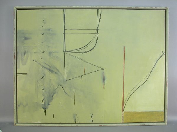 223: Large Tom Levine untitled oil on canvas abstract