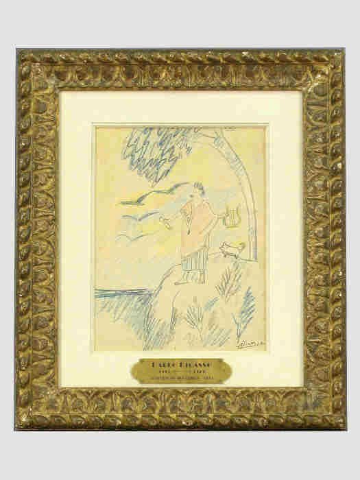 298: Signed Pablo Picasso (LR) crayon drawing