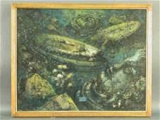 318 Signed Eugene Berman LC oil on canvas