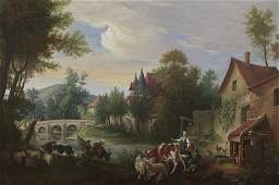 Continental School oil on canvas depicting a