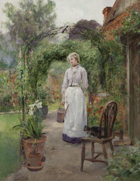 """Henry John Yeend King, """"Tending the Garden"""" oil"""
